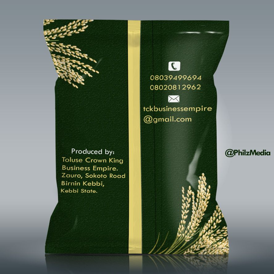 Graphic Design Services in Nigeria and Graphics Rice bagging Bag of Rice