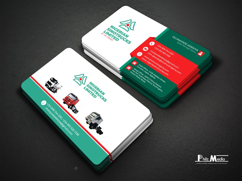 Business Card Design for Sales Manager at NIGERIAN  SINOTRUCKS LIMITED.